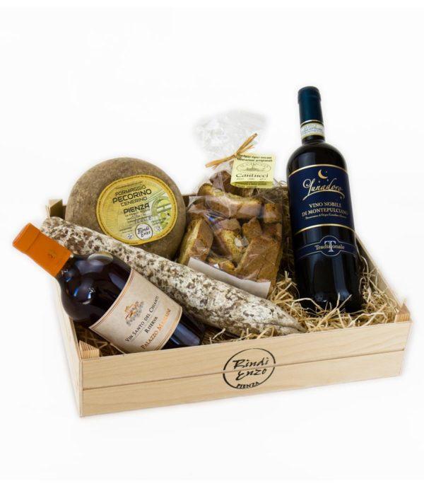 cesto regalo 5 sapori con pecorino di pienza stagionato cantucci nobile di montepulciano salamino toscano e vinsanto